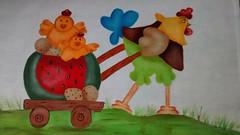 Galo cansado (Pintura em tecido. Panos de prato.) Tags: galinha galo pintinhos pinturacountry pinturaemtecido panodeprato panodecopa