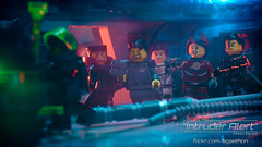 Intruder Alert 13 - Escaping! (agaethon29) Tags: macro toy lego space scifi spaceman sciencefiction minifig minifigs cinematic minifigure afol 2016 ncs minifigures blacktron toyphotography intruderalert legospace classicspace neoclassicspace legophotography legography novateam brickography