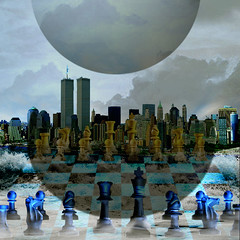 Collision (jaci XIII) Tags: city cidade game photoshop march mar chess planet jogo chessboard collision planeta xadrez coliso