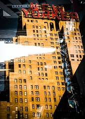 New Yorker (petertandlund) Tags: city nyc urban newyork abstract cars architecture skyscraper doubleexposure streetphotography streetscene xe1 fujix