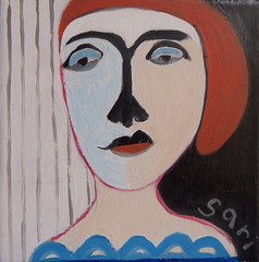 sold - (*15) #1325 (sariart2) Tags: original abstract art girl self painting acrylic raw folk outsider ooak sari primitive childlike azaria noy taught
