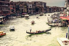 Gondola turning (lauradavison) Tags: venice italy water boats canal grand gondola venezia gondolas waterways