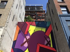 Art & Construction (-jamesstave-) Tags: street city nyc urban newyork color detail building art modern brooklyn painting construction mural lafayette kaws bam fortgreene bold briandonnelly iphone5s