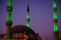 The Minarets Light Up! (Raphael de Kadt) Tags: johannesburg midrand architecture modern mosque turkish floodlights minarets dome reflection