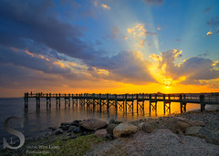 Sunset and rays over the pier (Singing With Light) Tags: 11th 2016 alpha6000 ct gulfbeach milford mirrorless singingwithlight sonya6000 clouds june photography singingwithlightphotography sony sunset