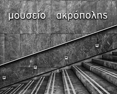 steps to the acropolis museum (dan.boss) Tags: blackandwhite bw blancoynegro monochrome museum architecture stairs fuji text athens architektur fujifilm handrail banister acropolis schwarzweiss fujinon