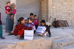 Children collect Ramadhan provisions in West Aleppo (Ummah Welfare Trust) Tags: poverty charity children war islam east aid hunger syria middle humanitarian humanitarianism