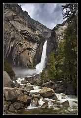 Lower Yosemite Falls (K-Burn) Tags: california mountains woodland waterfall rocks gorge yosemitevalley loweryosemitefalls mariposacounty