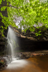 Summerhill Force, Teesdale (matrobinsonphoto) Tags: summerhill force bowlees beck gibsons cave teesdale county durham waterfall foss falls stream creek water flow summer long exposure leaves foliage trees cove landscape outdoors scenery beautiful nature