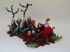 Before the battle. (JAlexanderHutchins) Tags: black tree castle rock bush lego helmet dirt sword soldiers knight shield