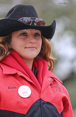 Kendra (wyojones) Tags: woman cute girl beautiful smile hat sunglasses hair pretty pin texas coat houston shades parade redhead jacket cowgirl lovely 2012 houstonlivestockshowandrodeo cowgirlhat wyojones houstonlivestockshowandrodeoparade