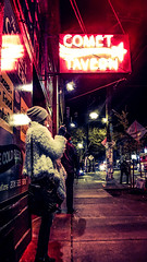 We Move in Elliptical Orbits (lost.mohican) Tags: seattle street woman sign bar night bag fur haze neon boots hill scene smoking sidewalk capitol tavern glowing beanie comet
