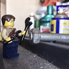 The wrong wrench (136/365) (robjvale) Tags: lego garage tools bolt nut wrench minifigure spanner adventurerjoe