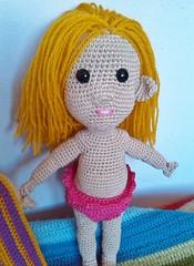 Surfer girl (magneticmary) Tags: crochet surfboard mywork amigurumi heracles sculpturingface