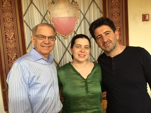 Mainly Mozart Festival president Mike Eidson with artistic director Marina Radiushin and videographer  Ali Habashi at the festival concert held at the Biltmore Hotel on Sunday afternoons