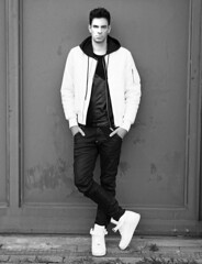 Streewear Fashion Model with Sneakers (vanessa_hutd) Tags: gay white man black guy leather fashion hair skinny intense model style nike bse airforceone sneaker tall mad airforce hairstyle nylon leder gros streetfashion gstar bomberjacket bomberjacke undercut streetstyle steetwear