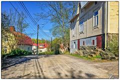Raunistula (ViTaRu) Tags: cameraphone road city blue sky building colors mobile finland wooden spring shadows fi poles gravel iphone bo 6s southwestfinland