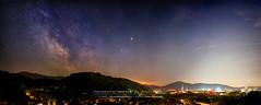 Friburger Nachthimmel (kuehne.carsten) Tags: red 2 sky panorama night zeiss germany way stars colorful mark sony magic himmel 7 55mm filter ii fe moment alpha f18 freiburg za milky hdr hoya hugin ilce nachthimmel intensifier milchstrase fe55mmf18za