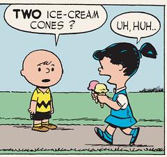 Two ice-cream cones? (Tom Simpson) Tags: illustration vintage comics peanuts icecream charliebrown icecreamcones
