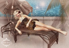 Petite Mort-Mansfield Vintage Playsuit (Petite Mort- Outfitting the modern bohemian) Tags: life summer classic pool up fashion swim vintage print model pin mesh mort jayne retro sl event leopard tropical second poolside swimsuit pinup petite belleza mansfield maitreya petitemort slink playsuit