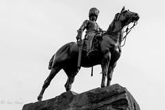 Edinburgh statue, Princes Street. (Sue_Shaw) Tags: city blackandwhite bw horse history monochrome silhouette canon soldier scotland edinburgh canoneos equestrian statute canon60d