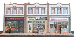 Small suburban shops (kingsway john) Tags: street scale buildings card kits oo gauge diorama 176 kingsay moddels