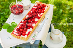 Orange Curd Tart with Vanilla Strawberries (dolphy_tv) Tags: red summer food orange white green grass cake fruit cheese vintage bench pie crust table dessert cuisine wooden leaf strawberry berry picnic sweet background rustic cream tasty bowl fresh gourmet delicious homemade bakery pastry vanilla flan custard ricotta stool creamcheese tart quark baked curd whipped mascarpone nobake strawberrytart strawberrycake shortcrust