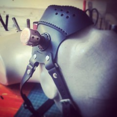 Working on a custom order. Almost done. #Cyberpunk #CyberGoth #postapocalyptic #postapocalypse #steampunk #steampunkmask #leathermask #handmade #LARP #dieselpunk #leather #Darkart #costume #burningman #costume #respirator (tovlade) Tags: black girl face make up leather punk hand mask goth goggles made doctor cyber cybergoth cyberpunk plague larp steampunk postapocalyptic postapocalypse dieselpunk