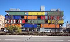 Las Violas Apartment, Madrid 2015 (sNMsyrgC) Tags: madrid architecture facade colorful residence