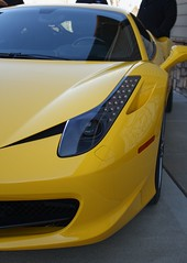 Eye of the Beast (twinsfan7777) Tags: light eye cars sports coffee beautiful car yellow cool nice italian italia awesome fast ferrari led exotic april beast hood headlight grille expensive coupe exclusive supercar v8 pininfarina 458 canoneosrebel550d canon1855mmf3556isstm