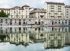 Murazzi reflection, Turin, Italy (ArtistBlood) Tags: travel italy reflection river torino mirror po turin murazzi olympus25mm panasonicgx7