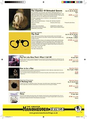 Sneak preview of the programme p17 - out in June (gmfringe) Tags: new uk summer england history festival children manchester three actors comedy poetry cheshire northwest theatre britain stage events yorkshire performance bubbles lancashire bee entertainment lgbt poet historical juggling clowns northern drama marieantoinette henryviii poptart fairytales maryqueenofscots gullivers quarterlifecrisis anneboleyn kateoleary herstory catherinehoward thetrial jonathancoleman samdavies howtobeaman whatson ktparker rodtame herstorical greatermanchesterfringe hopemilltheatre peoplezooproductions dungeonofadulterers wrongsemble aworkingtitle nowthatswhaticall40 originalimpacttheatrecompany chapteronebooks chamberofbeheadedqueens