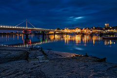 Shoreham Blue Hour II - Explored (Dave Sexton) Tags: uk longexposure bridge england west church night reflections river boats lights sussex pentax unitedkingdom gb bluehour f28 shoreham shorehambysea k1 2470