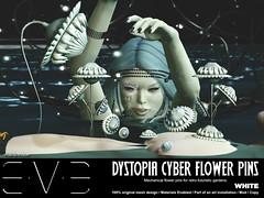 Dystopia Cyber Flower Pins White (eve.studio (Noke Yuitza)) Tags: eve vintage illumination secondlife sunflower lea shortstory tale cyberpunk steampunk dystopia pinsandneedles retrofuturistic we3rp roquai