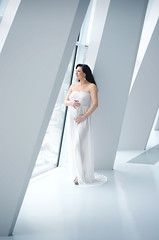 Barbara's Maternity Session (nicole|w Fotografie) Tags: light woman white mercedes benz natural stuttgart pregnancy pregnant maternity highkey gown motherhood expecting babybelly mothertobe muuseum