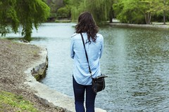 Back Turned (Chris B Richmond) Tags: park blue sky woman lake water girl shirt canon hair outside back pond tn nashville wind outdoor tennessee profile faceless dslr turned