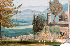 Mural and donation box (10b travelling) Tags: tree persian mural asia asien iran middleeast persia shiraz asie iranian 2014 neareast donationbox moyenorient naherosten mittlererosten tenbrink carstentenbrink westernasia iptcbasic 10btravelling