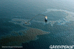 Big Oil Cleanup (Greenpeace USA 2016) Tags: ocean usa gulfofmexico louisiana ship gulf shell greenpeace aerial oil drilling skimming fossilfuel breakfree cleanenergy portfourchon