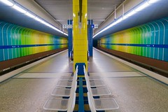 Munich after sunset: in an underground station. (F.R.L., thanks for your views and comments!) Tags: underground subway munich metro ubahn