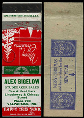 Alex Bigelow Studebaker Sales in Valparaiso, Indiana - Matchcover (Shook Photos) Tags: auto christmas promotion advertising valparaiso automobile indiana newyear advertisement match studebaker matches promotional dealership matchbooks matchbook matchcovers portercounty matchcover valparaisoindiana automobiledealership alexbigelow