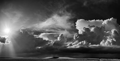 El ancho mundo (una cierta mirada) Tags: sunset sky blackandwhite panorama cloud sun storm nature weather clouds landscape spring pano stormy panoramic cielo bnw cloudscape