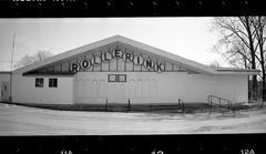 Rollerink (New Paltz Camera Company) Tags: new york white ny black film monochrome sign analog 35mm lens kodak scanner trix skating bob upstate d76 plastic developer 400 roller rink epson rocket analogue v600 expired esposito sprocket rollerink