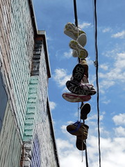 Soles (_quintin_) Tags: sanfrancisco california shoes powerlines themission clarionalley