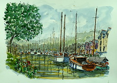 Le port de la Roche-Bernard. La Roche-Bernard's Harbour. (Jean-Paul Rivire) Tags: ink bretagne watercolour