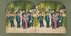Vintage Stereoscope Card - Patriotic Spanish-American War Card, Brave Boys In Blue, Starting For Manila, Copyrighted 1898 By T.W. Ingersoll (France1978) Tags: spanishamericanwar antiquestereoscopecard vintagestereoscopiccard vintagetwingersollstereoscopecard