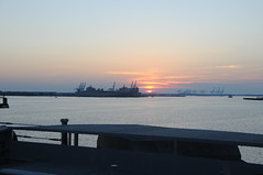 Sunset from the Fantail of the Wisconsin (picturetakingone) Tags: norfolk virginia nauticus wisconsin battleship navy mermaid museum town point park waterside sun sunset uss u s