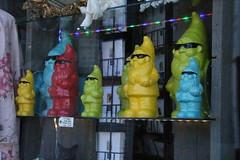 Cool Dude Gnomes (Munki Munki) Tags: whitby gnomes shopwindowdisplay rainbowcolours nyorks denofantiquity gnomeswithshades