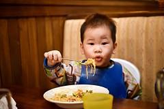 Nico vs Spaghetti (amesis) Tags: baby restaurant pasta seafood spaghetti scarolies