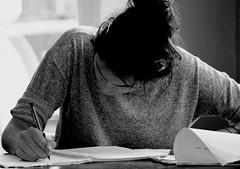 Finding inspiration. (davidpompel) Tags: woman writing blackwhite student charleston
