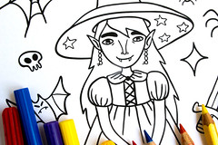 My Little Witch Coloring Page (apolinarias) Tags: art illustration witch page coloring etsy